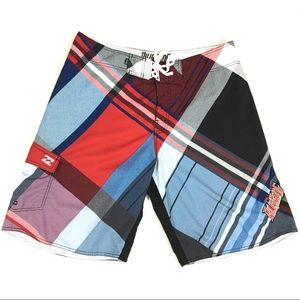 Billabong Plaid Board Shorts Size 38